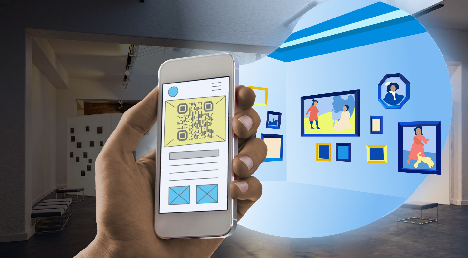 illustration of an imaginary room full of new paintings, emerging from behind a smartphone screen being held up in the real-world museum gallery